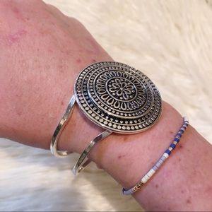 Medallion Cuff Metal Bracelet